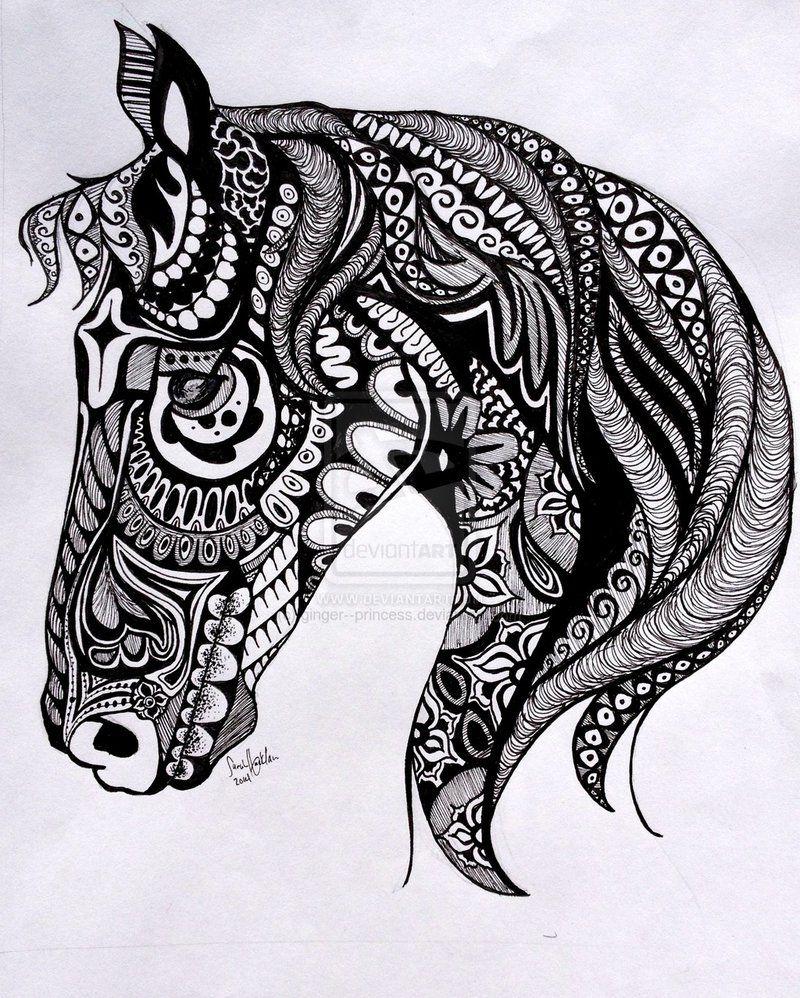 Dibujos caballo zentangle | Dibujos blanco y negro | Pinterest ...