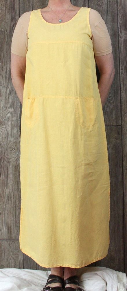 b68443f12b48 Classique by Shawn L size Dress Sunflower Yellow Long Casual Tank Linen  Comfort