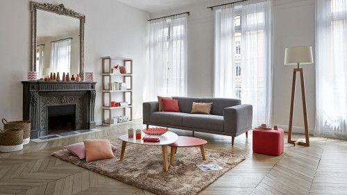 Salon séjour nordique, canapé Oslo gris avec pieds en bois, table ...