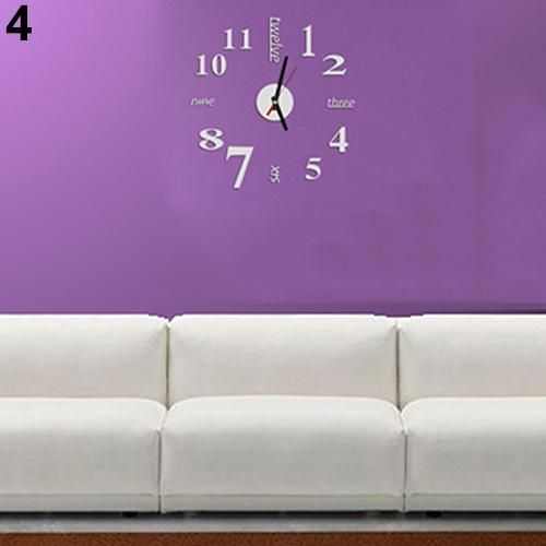 Photo of Modern Fashion Home Office Room Decor Background DIY 3D Clock Wall Sticker – Silver