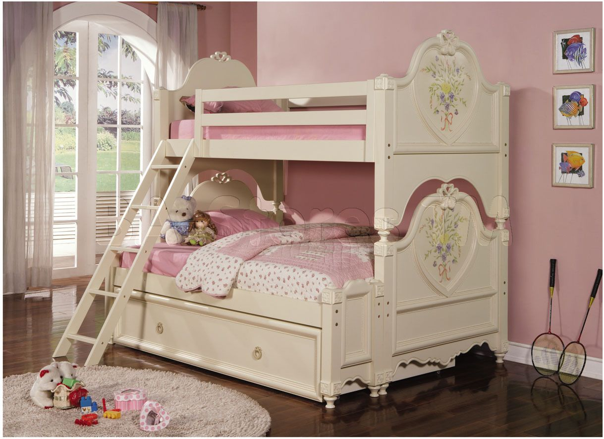 Girls bunk beds twin over full - Little Girls Beds Doll House Cream Twin Over Full Bunk Bed With Trundle