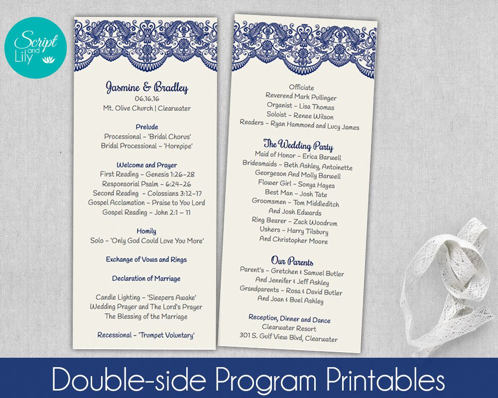 Lace Wedding Program Template, Double-Sided | *FREE Color Change ...