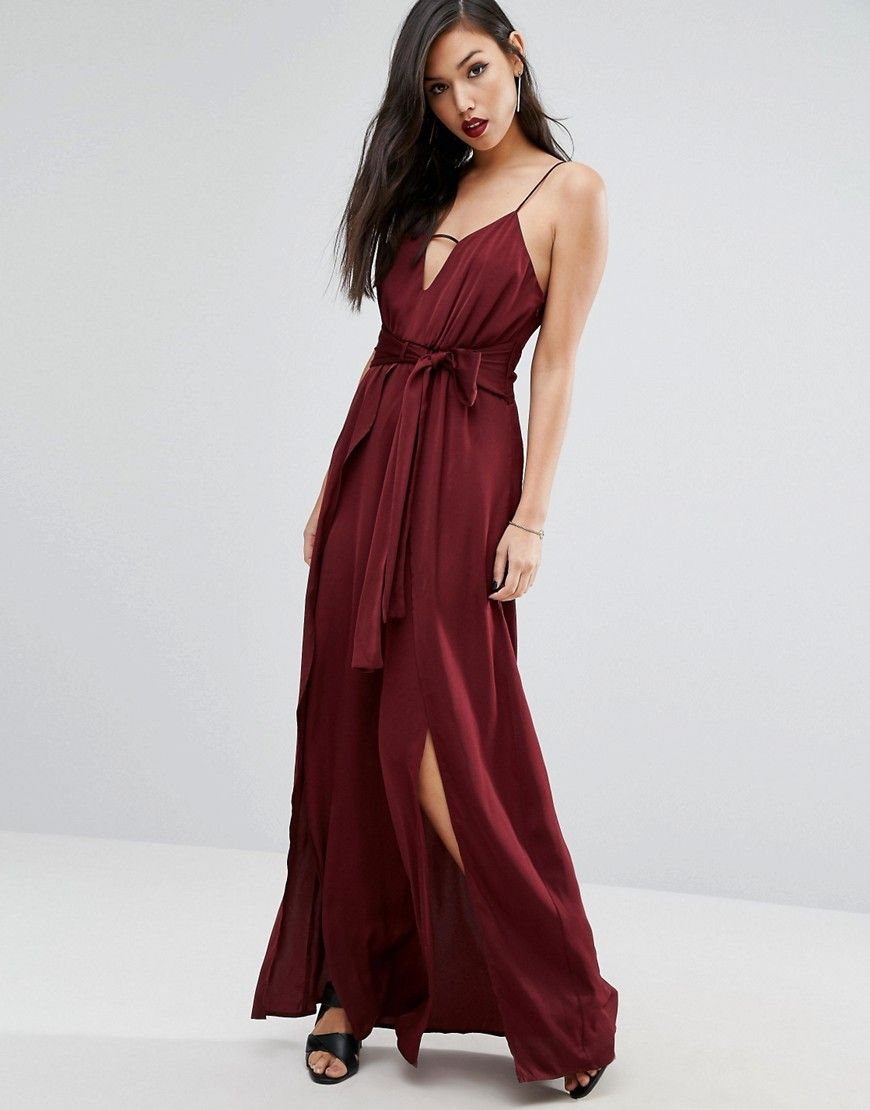 One Shoulder Maxi Dress With Thigh Split Purple Pinterest