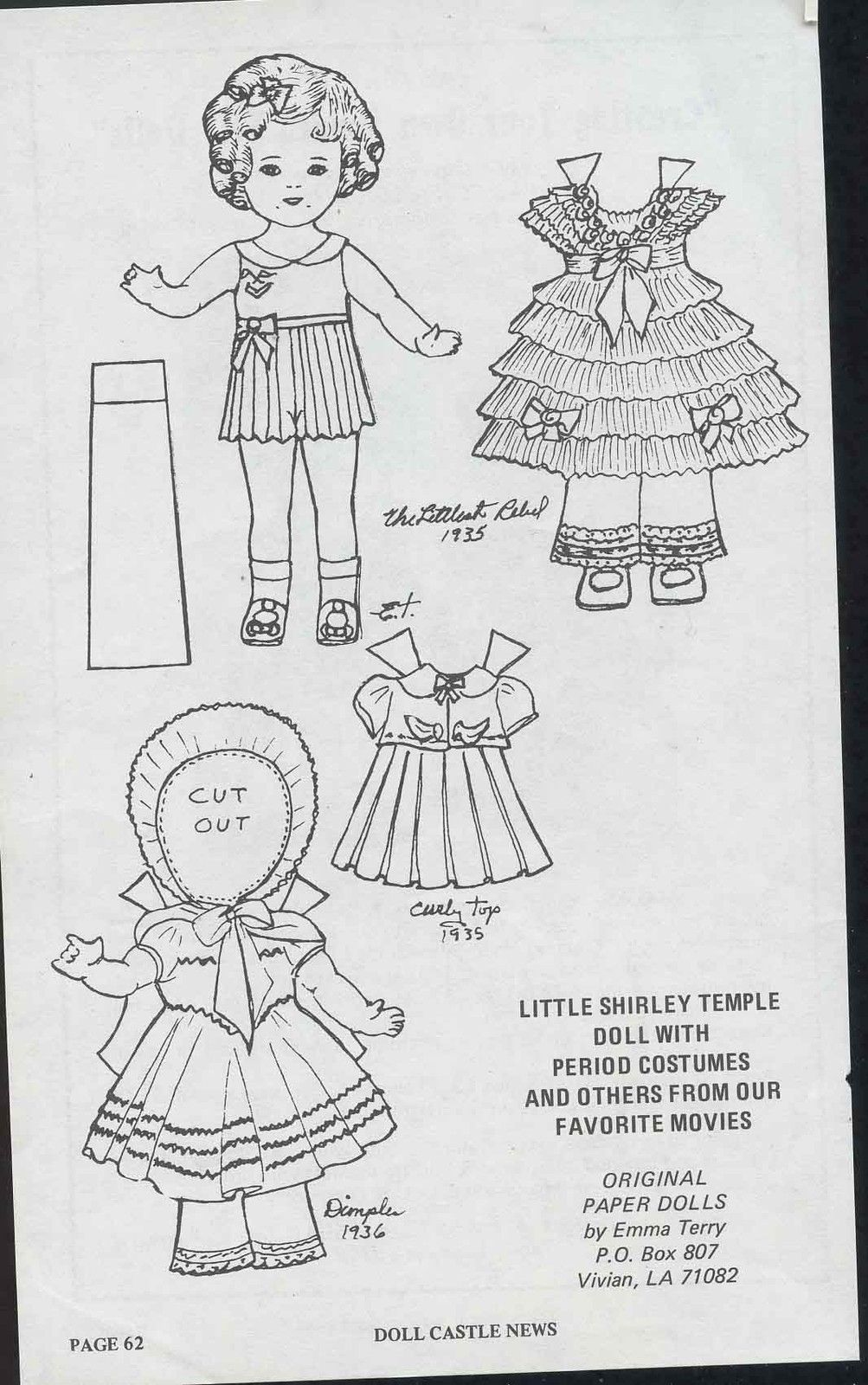 Little Shirley Temple Doll Page with Period Costumes Doll
