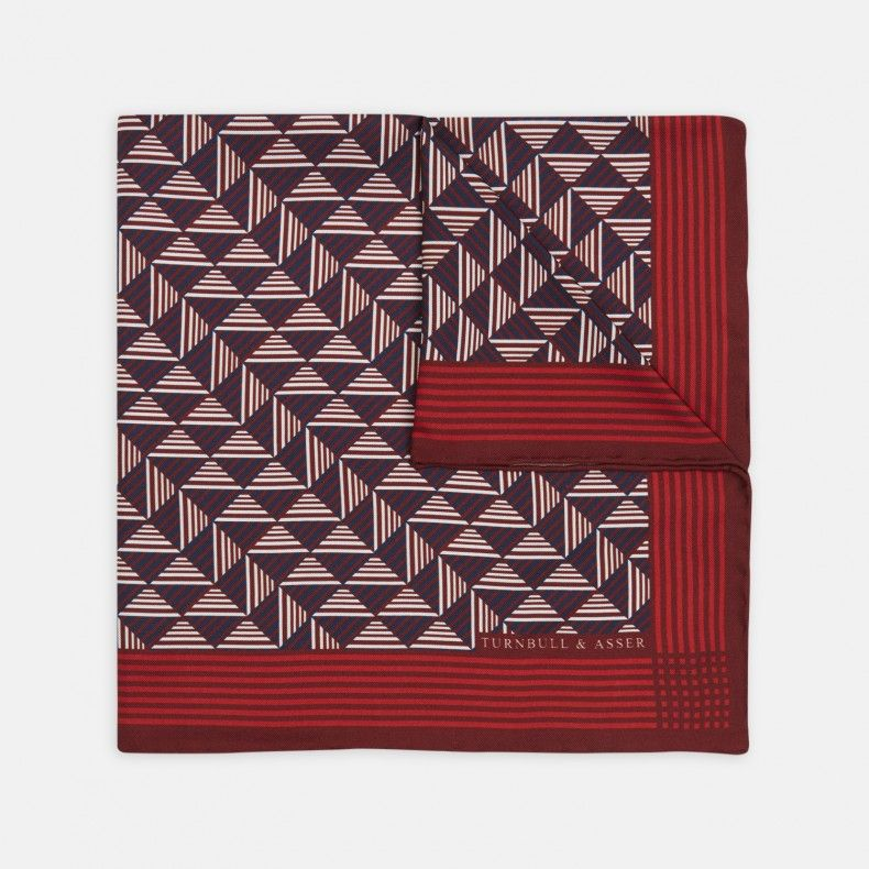 Triangle Transfer Red and Navy Silk Pocket Square