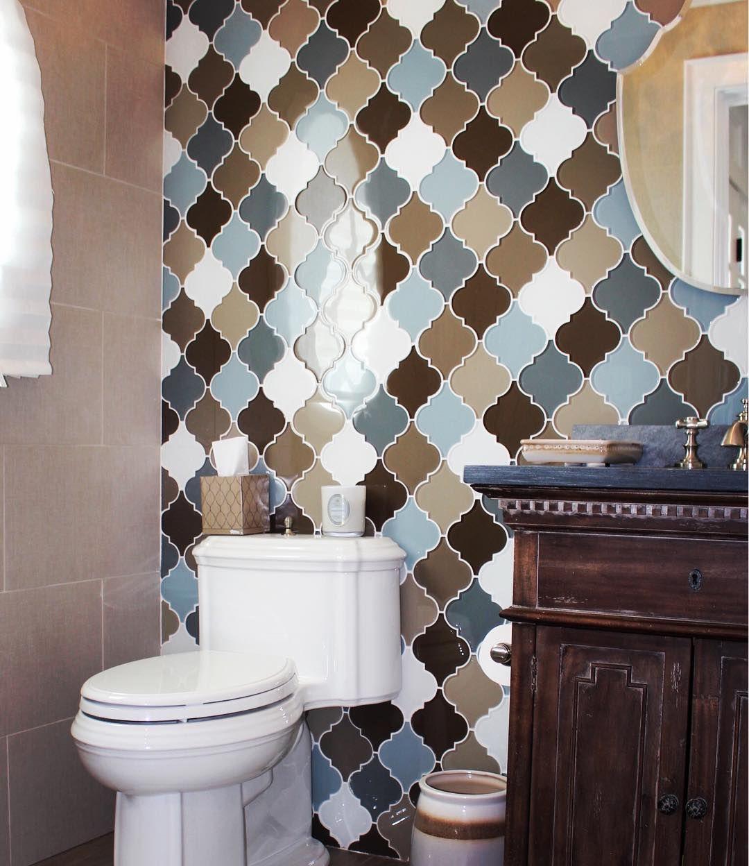 Houzz guest bathrooms - Guest Bathroom Arabesque Glass Tileaddiction Instatiles Interiordesign Houzz Kitchen