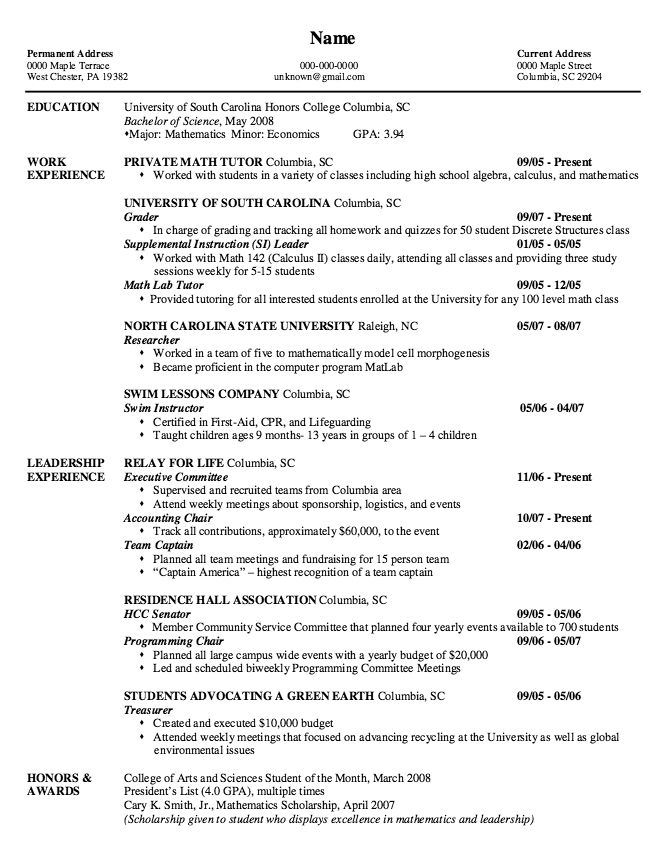 Example Of Private Math Tutor Resume Examples Resume Cv