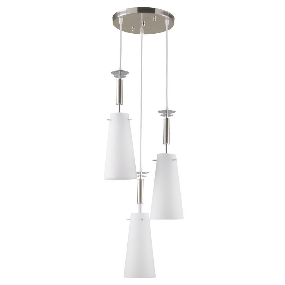 Hampton Bay 3 Light Brushed Nickel Ceiling Mini Pendant With Etched White Glass 8496 1 The Home Depot