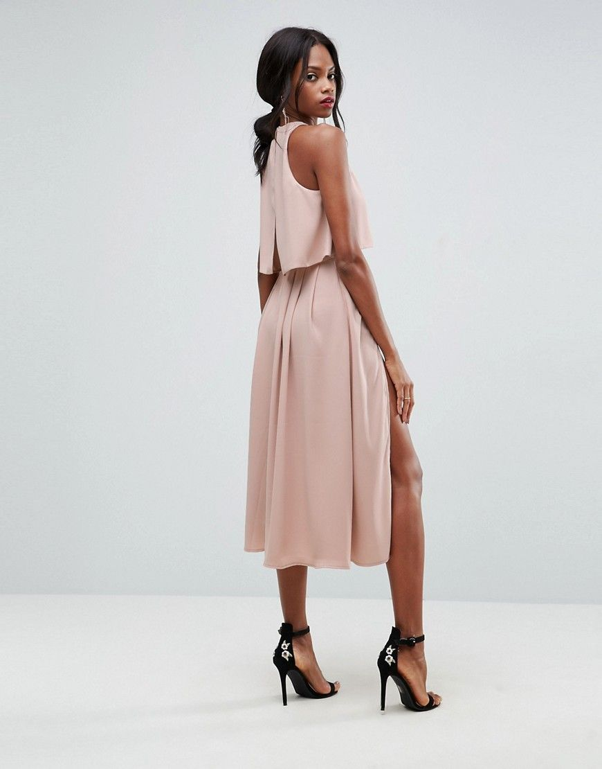bc1e6c44c3ea Crop Top Thigh Split Midi Dress | style and more
