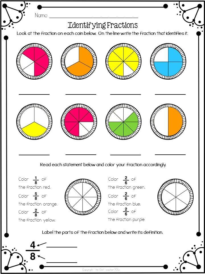 Identifying Fractions Freebie Education Math Sheets