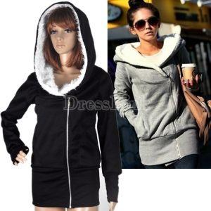 $5.68Korea Women Hoodie Jacket Coat Warm Outerwear hooded Zip
