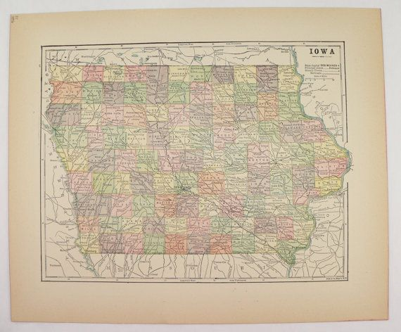 Antique Map Of Iowa State Map Midwest US Geography Art Old - Vintage iowa map