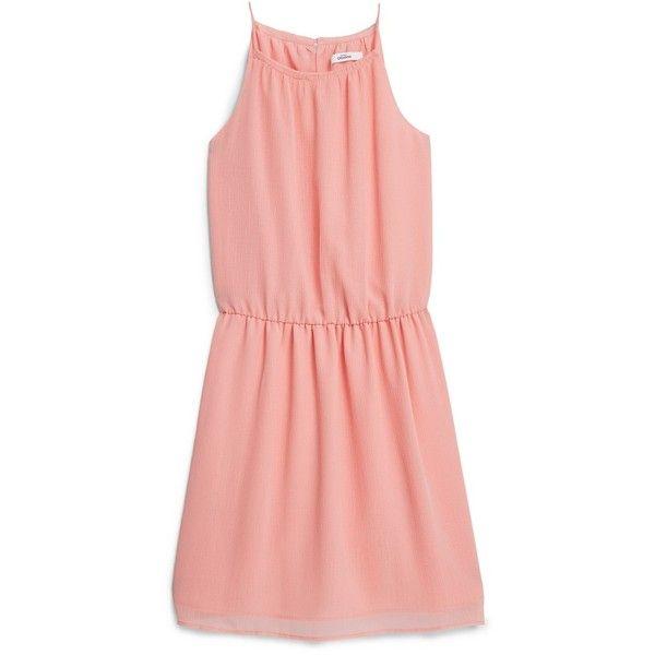 Spaghetti Strap Dress (€24) ❤ liked on Polyvore featuring dresses, vestidos, short dresses, line dress, mango dresses, mini dress, elastic waist dress and pink dress