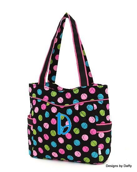 Monogrammed Quilted Tote  Polka Dot by DesignsbyDaffy on Etsy, $25.95