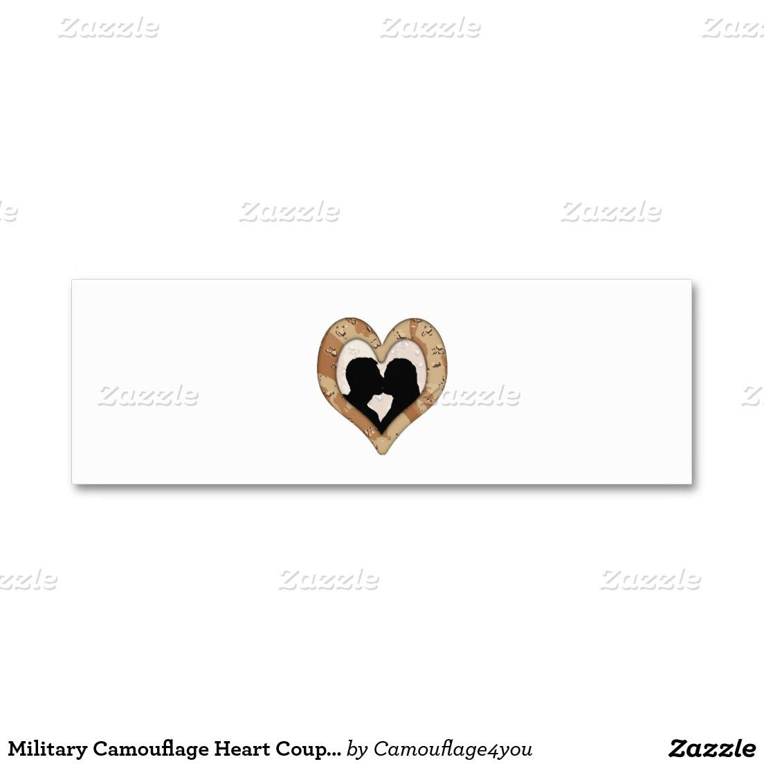 Military Camouflage Heart Couple Silhouette Mini Business Card ...