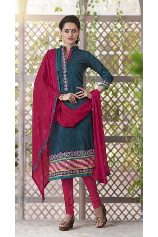 3b72642968a Party Wear Readymade South Cotton Teal Salwar Suit - 20094