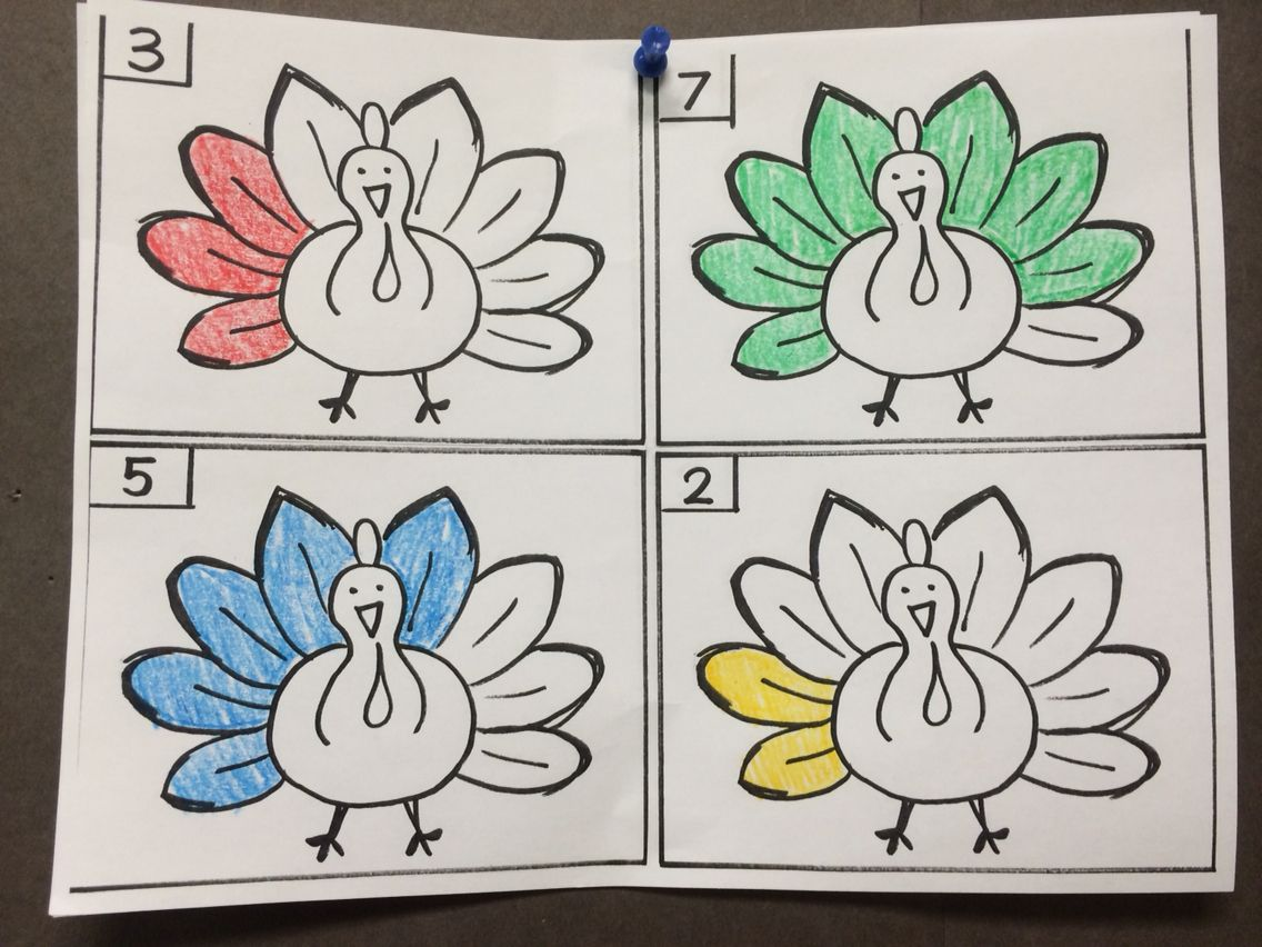 Thanksgiving Worksheet Count And Color The Feathers