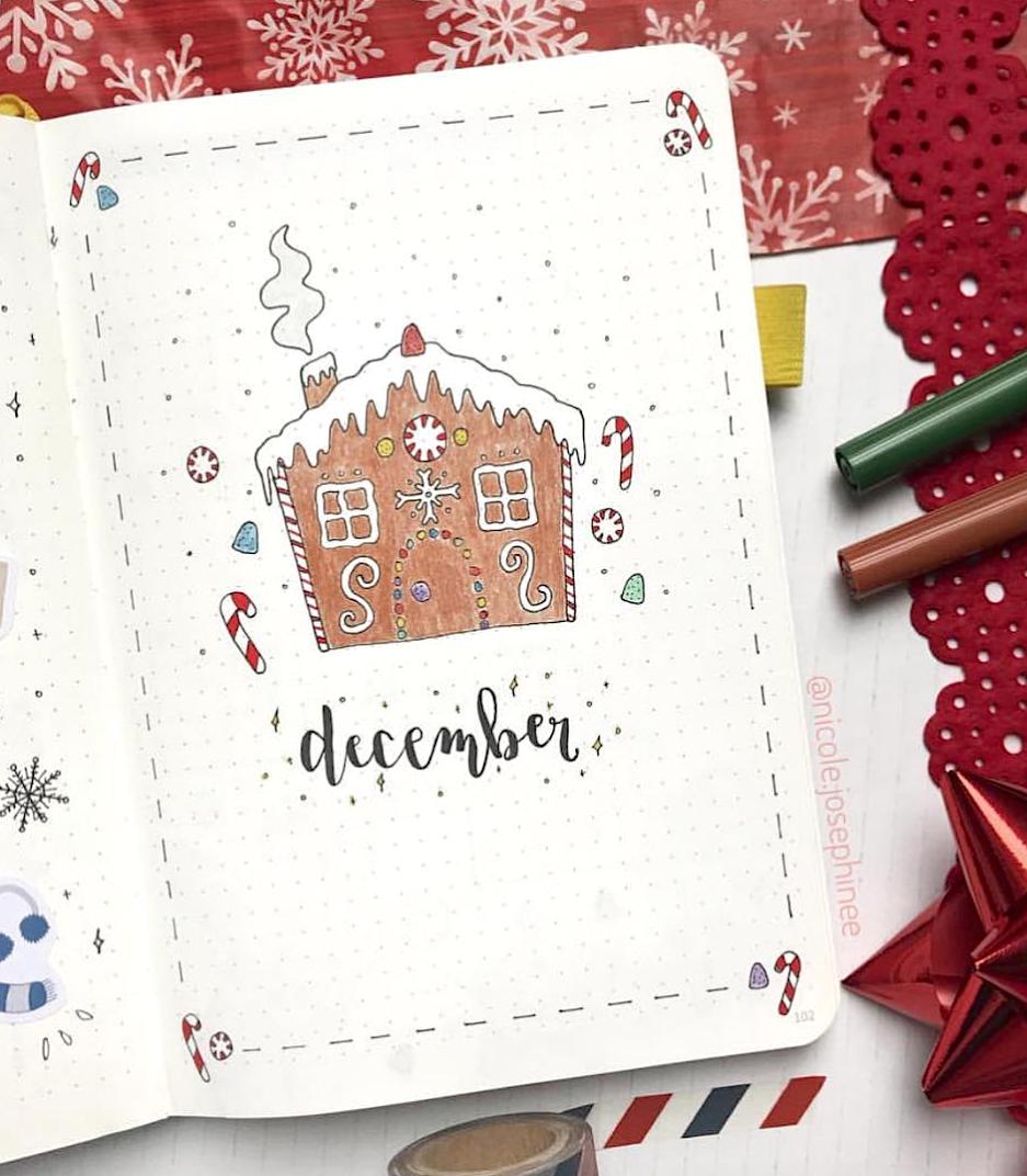 A crunchy December bullet journal cover