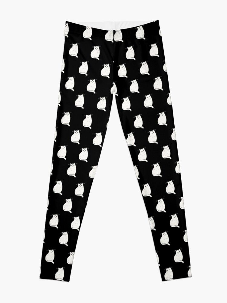 Leggings Three Eye Cat with halo in black and white pattern