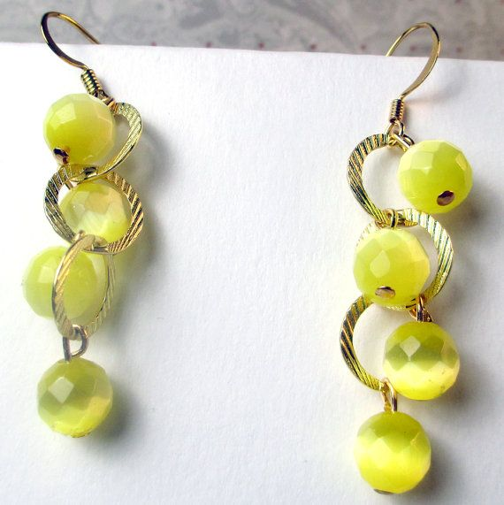 Yellow Cats eye on gold plated loop dangle yellow by beadwizzard