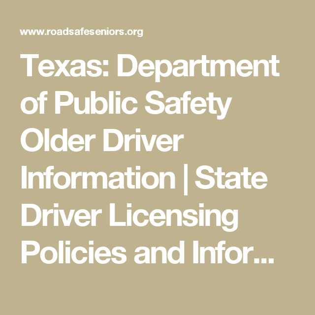 Texas Department Of Public Safety Older Driver Information