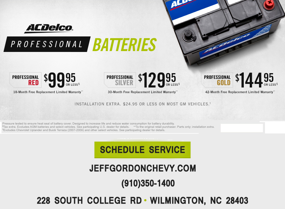 Get Ac Delco Professional Batteries At Jeff Gordon Chevrolet