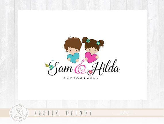 Loghi Bambini ~ Logo design heart logo boy logo childcare logo girl logo boutique