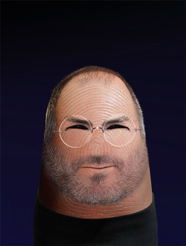 Ditology by Dito Von Tease.  Finger portraits of famous people: Steve Jobs.