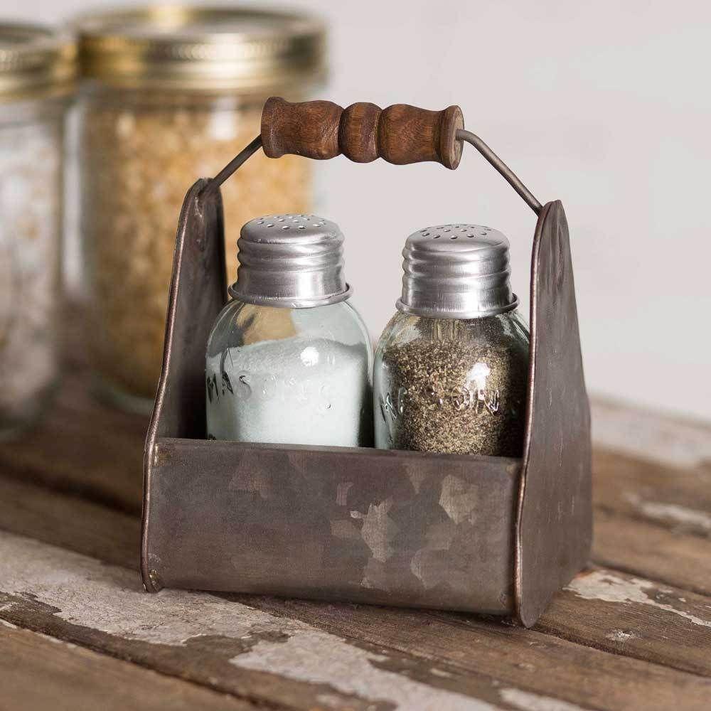 Farmhouse//Cottage//Primitive Mason Jar Box Salt /& Pepper Caddy