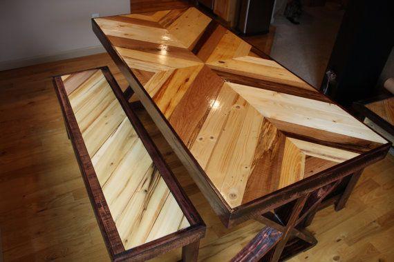 Mesa de comedor madera reciclada Chevron   Taracea ...