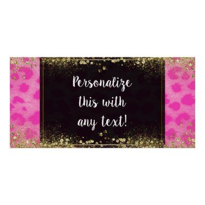 pink leopard cheetah print gold glitter banner wedding shower giftswedding