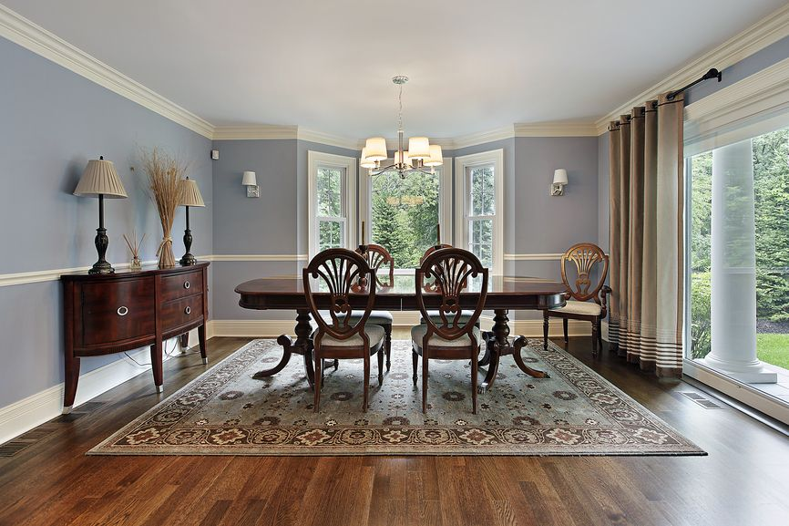 White And Light Blue Dining Room Design With Wood Floor Furniture