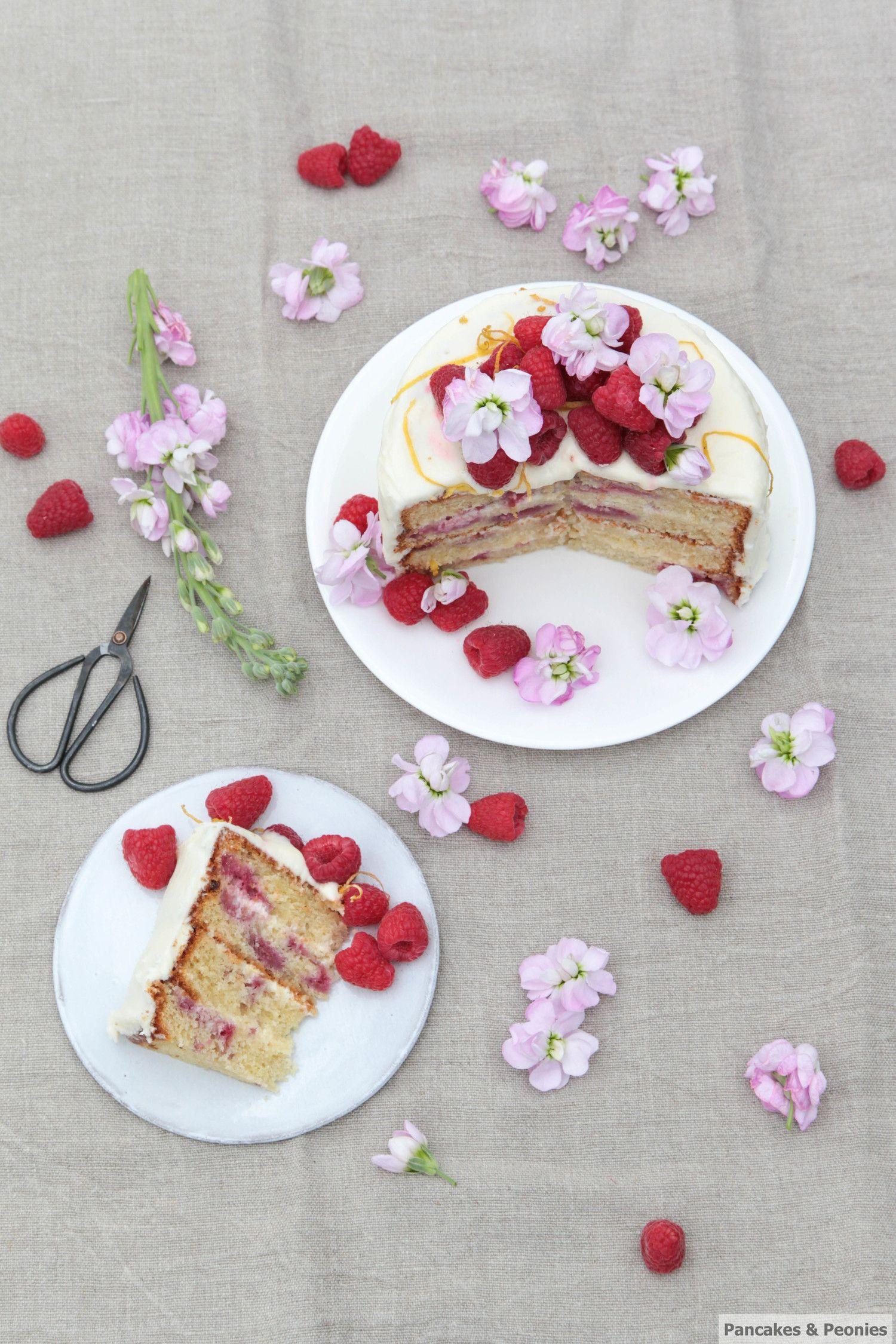 Zesty Raspberry Cake - Pancakes & Peonies