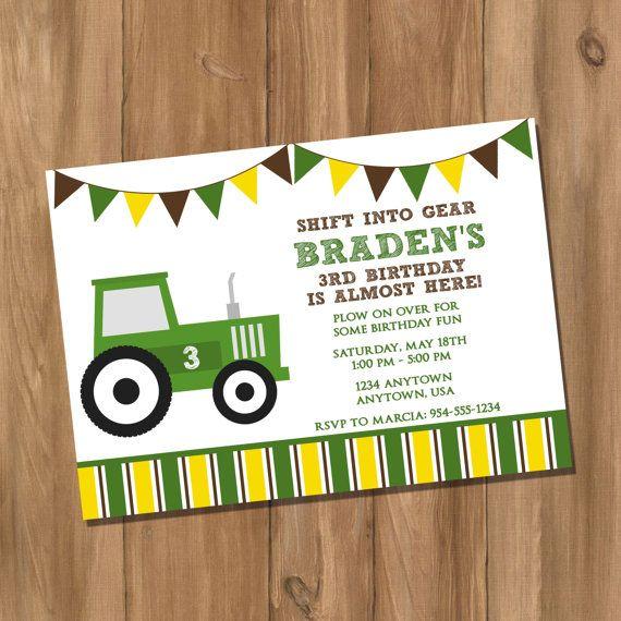 John Deere Inspired Tractor Birthday Party Invitation Digital - John deere 2nd birthday party invitations