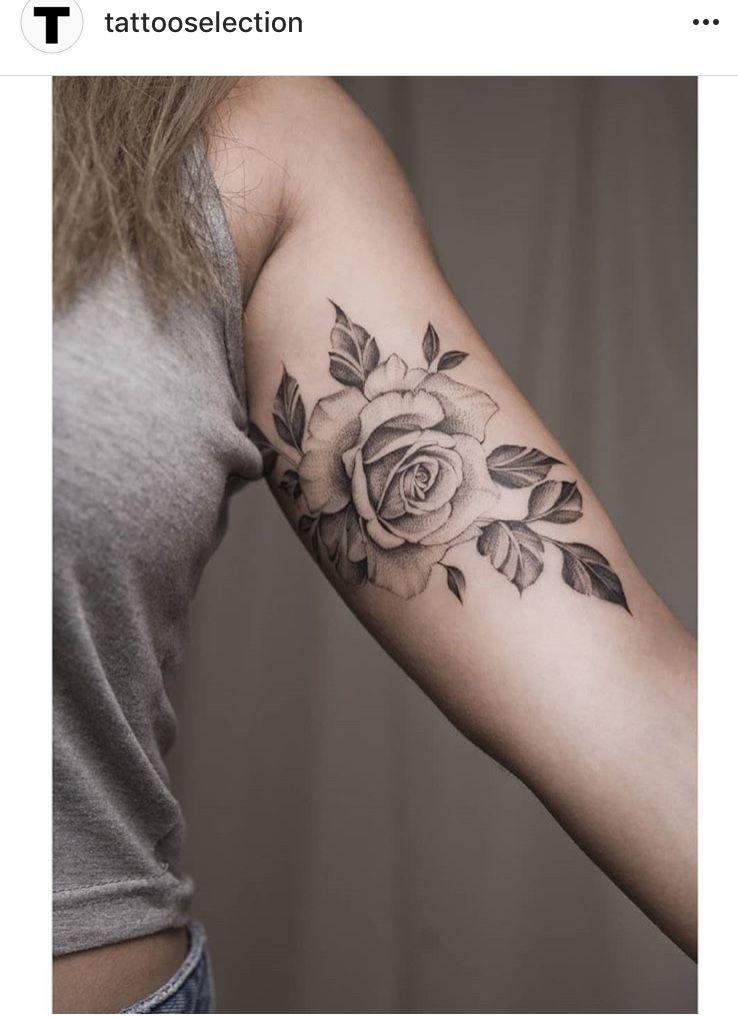 Rose Bicep Arm Tattoo Roos Tatoeage Ideeën Tatoeage