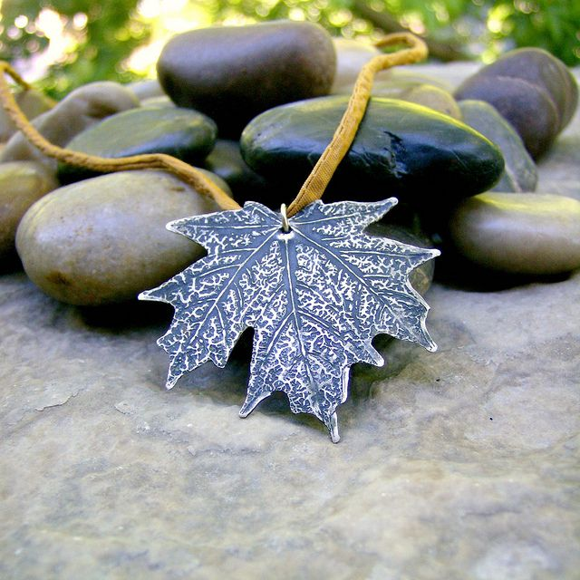 maple leaf etched pendant