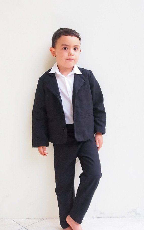 98bac9a84 Boy Christening Outfit- Black, Suspender pants, Boy Linen Suit, Page Boy,  Ring bearer, Baptis