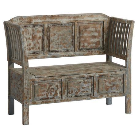 Crafted from Chinese fir, this weathered-look bench features an antique blue finish. Perfect for adding a vintage touch to your scheme. ...