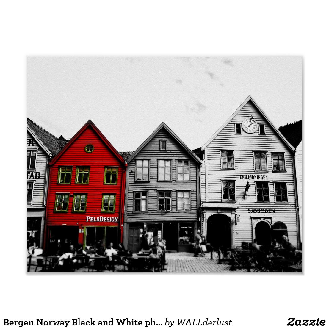 bergen norway black and white photo with red house poster zazzle rh pinterest co uk