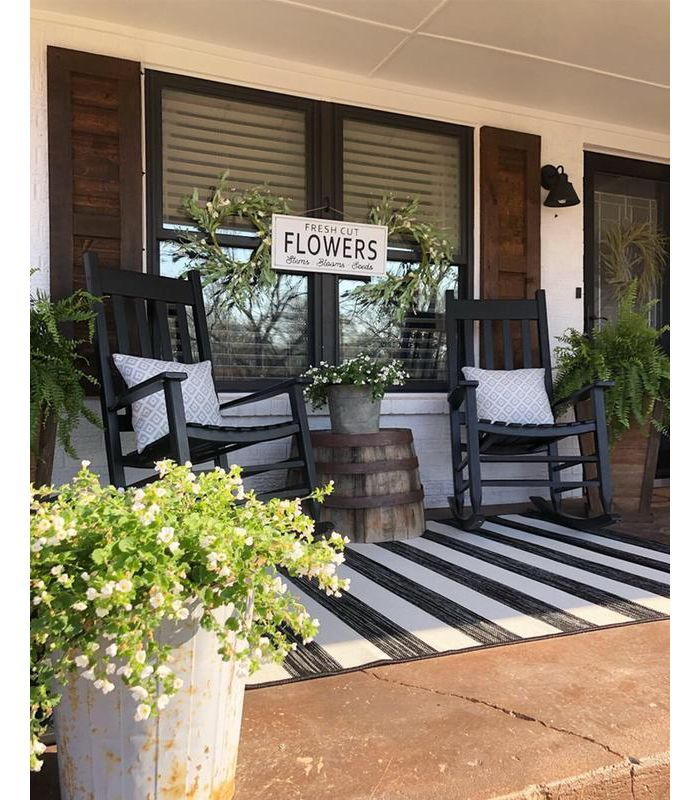 7'x10' Outdoor Rug Worn Stripe Black - Threshold ... on Target Outdoor Living id=87174