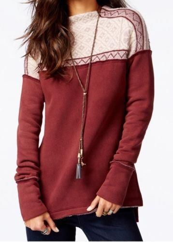 128 nwt FREE PEOPLE sz L SNOW BUNNY sweater sweatshirt hybrid in berry  combo  FreePeople  pullover 0538f056e