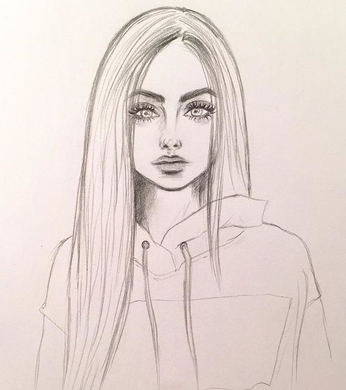 Girl Drawing Black And White Pencil Sketch Cute Things To Draw On White Background Art Drawings Art Sketches Drawing People