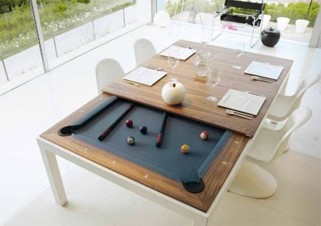 Flip For Fun Clever Pool Tables That Convert Transform Pool - Pool table dining room table conversion