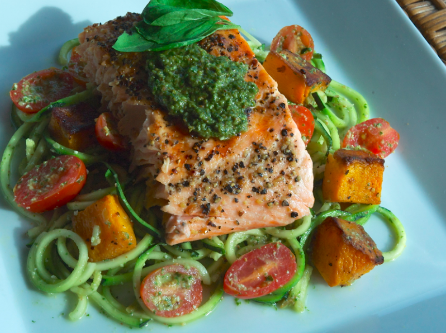 paleo grilled salmon over pesto zoodles with tomatoes and. Black Bedroom Furniture Sets. Home Design Ideas