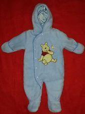 Disney Infant Fleece Snowsuit 6 Months Winnie The Pooh Blue Bunting Long Sleeve $12.99