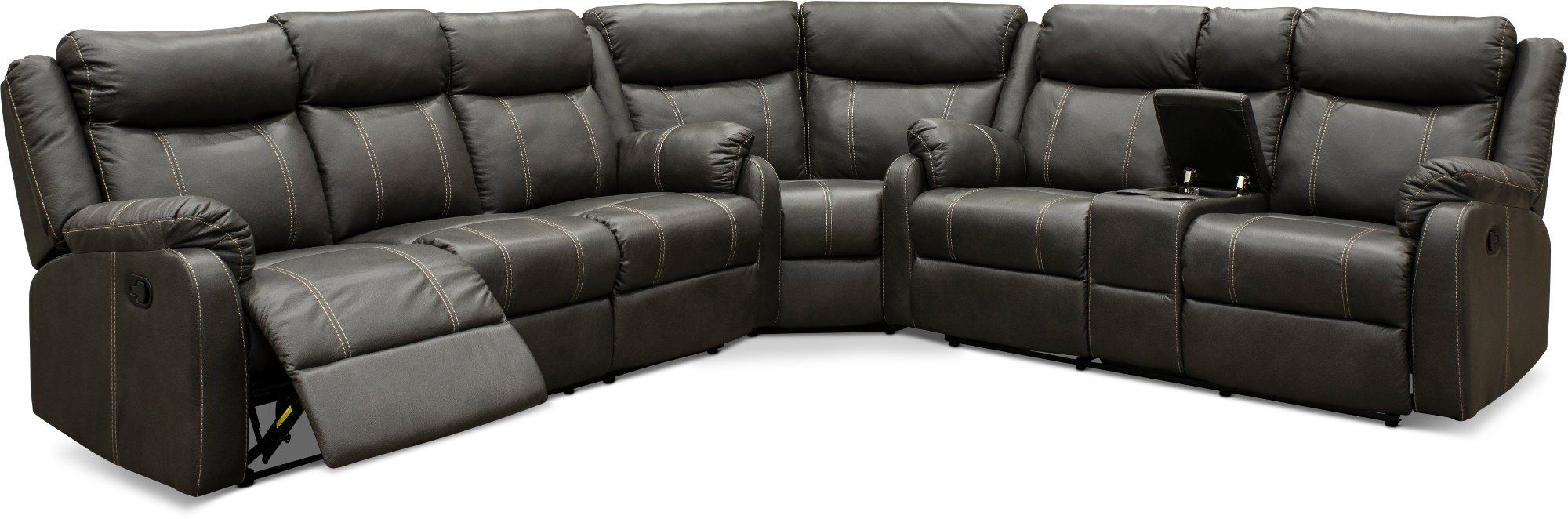 Valor Carbon Gray Dual Reclining Sectional Sofa Domino Reclining Sectional Sectional Sofa Sectional