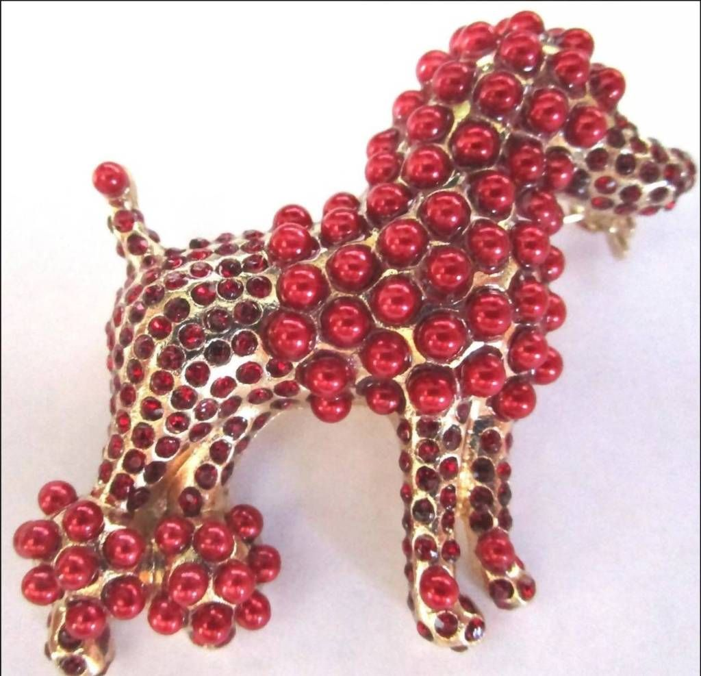 Dolce Red Pearl Poodle High Fashion Unisex Lapel Pin In
