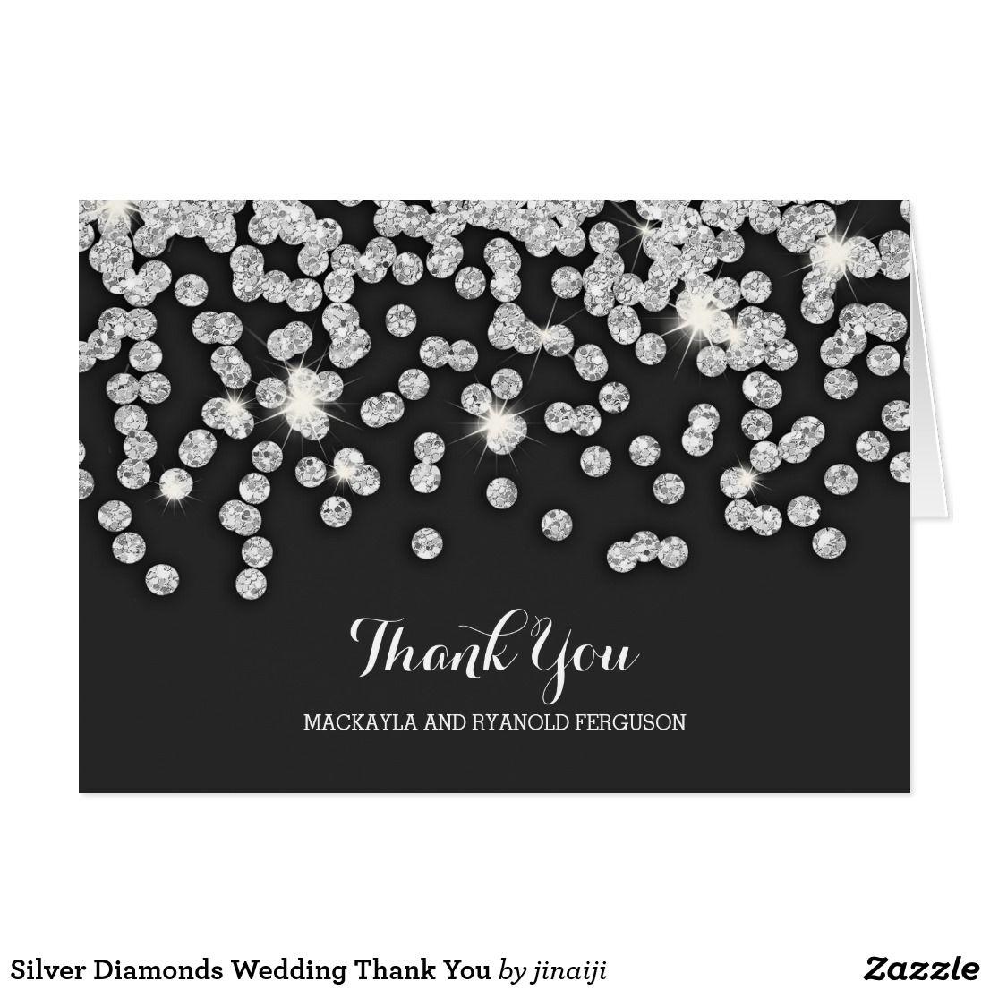 Silver Diamonds Wedding Thank You Zazzle Com Wedding Thank You