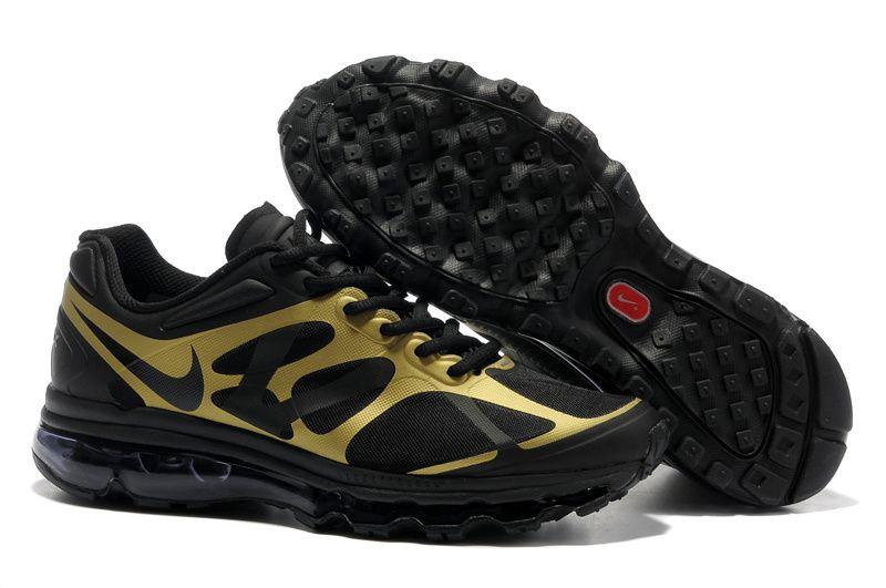 premium selection dcb09 05b61 Mens Nike Air Max 2012 Black Metallic Gold Shoes