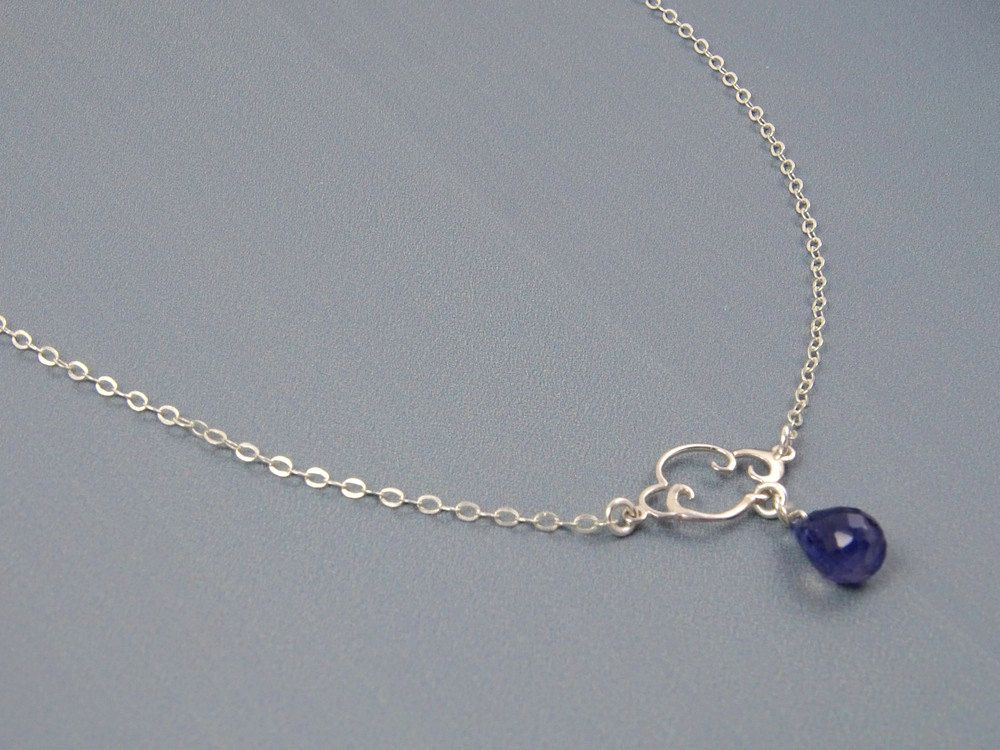 Rain Cloud Necklace Sterling Silver Gemstone Blue Jewelry Unique Gift Ideas 21st Birthday Gifts For Her